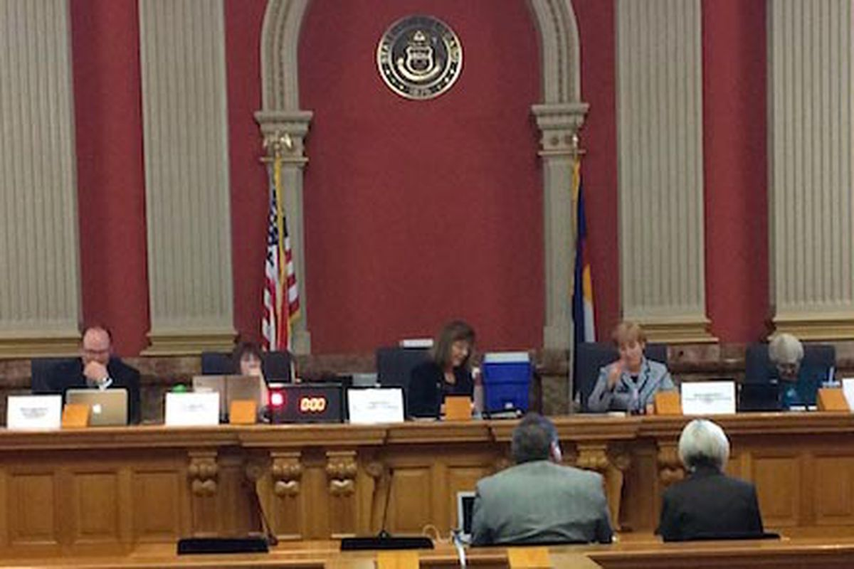 The House Education Committee considered a testing bill in the ornate Old Supreme Court Chamber, the Capitol's largest hearing room.
