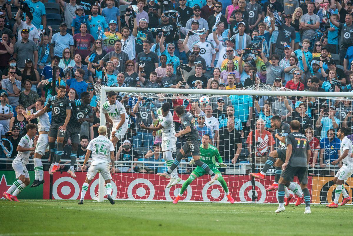 June 23, 2021 - Saint Paul, Minnesota, United States - Minnesota United midfielder Adrian Hunou (23) scores a goal against Austin FC at Allianz Field. (Photo by Tim C McLaughlin)