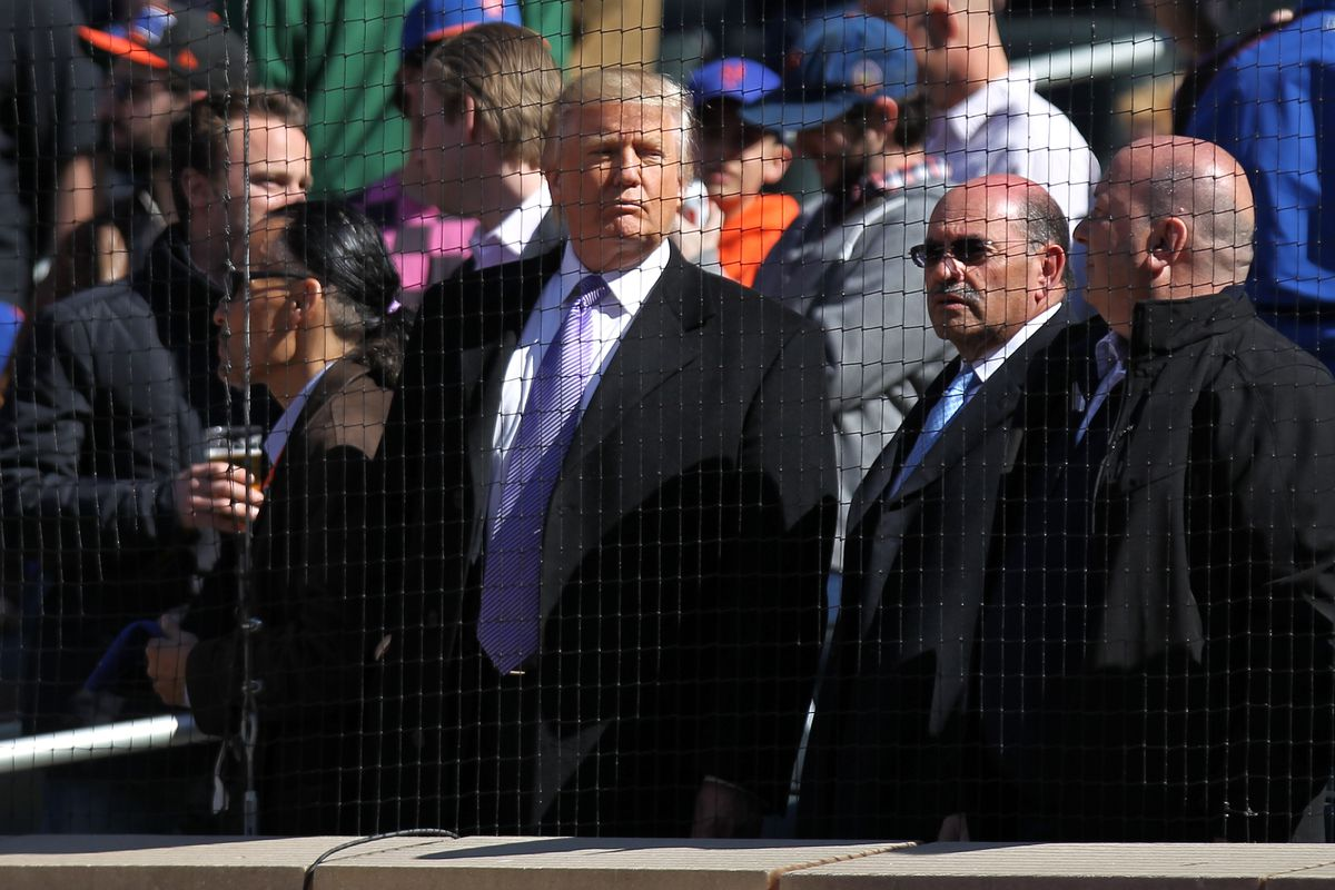 Donald Trump attends opening day at Citi Field in 2012.