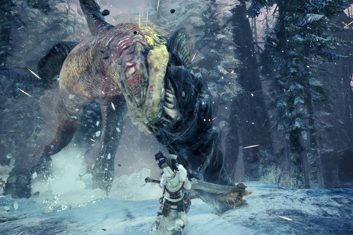 fighting a Beotodus in a snowy forest in Monster Hunter World: Iceborne
