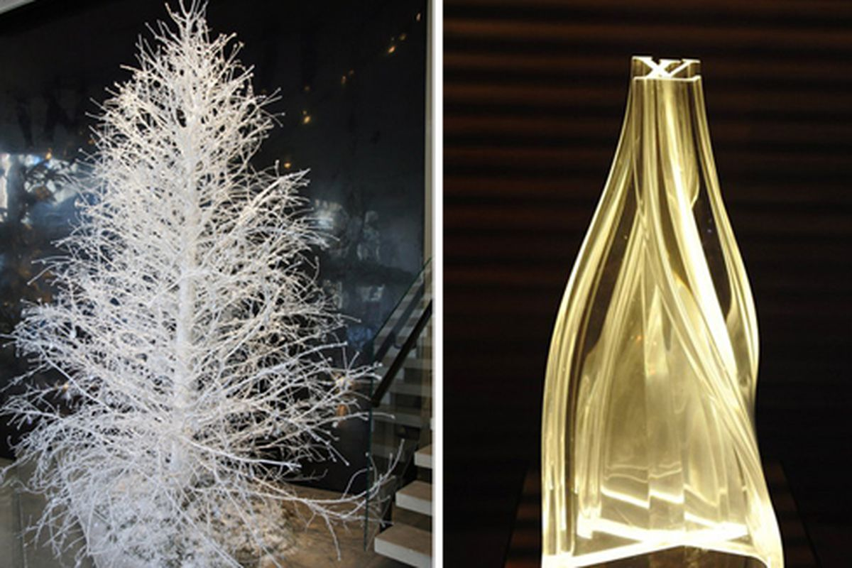 """Donna Karan tree via the <a href=""""http://www.nytimes.com/2009/12/10/fashion/10ROW.html?partner=rss&amp;emc=rss"""">NYT</a>; Louis Vuitton tree via <a href=""""http://www.wwd.com/fashion-news/fashion-scoops/designer-christmas-trees-with-an-edge-a-comme-des"""