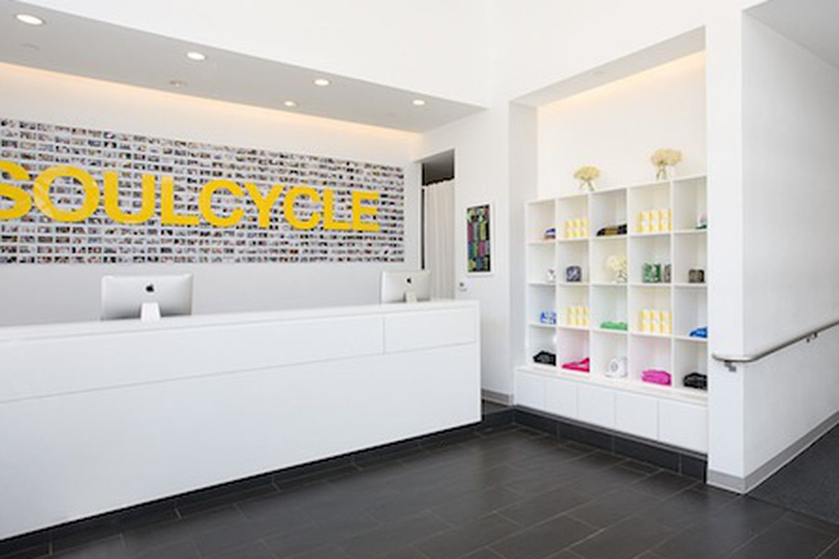 Inside a SoulCycle studio.