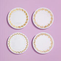 Porcelain dessert plates with 18K gold rim, $25
