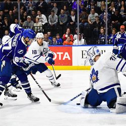 Toronto Marlies goalie Calvin Pickard (31) makes a save against the Syracuse Crunch in American Hockey League (AHL) Calder Cup Playoff action at the War Memorial Arena in Syracuse, New York on Sunday, May 6, 2018. Toronto won 7-1.
