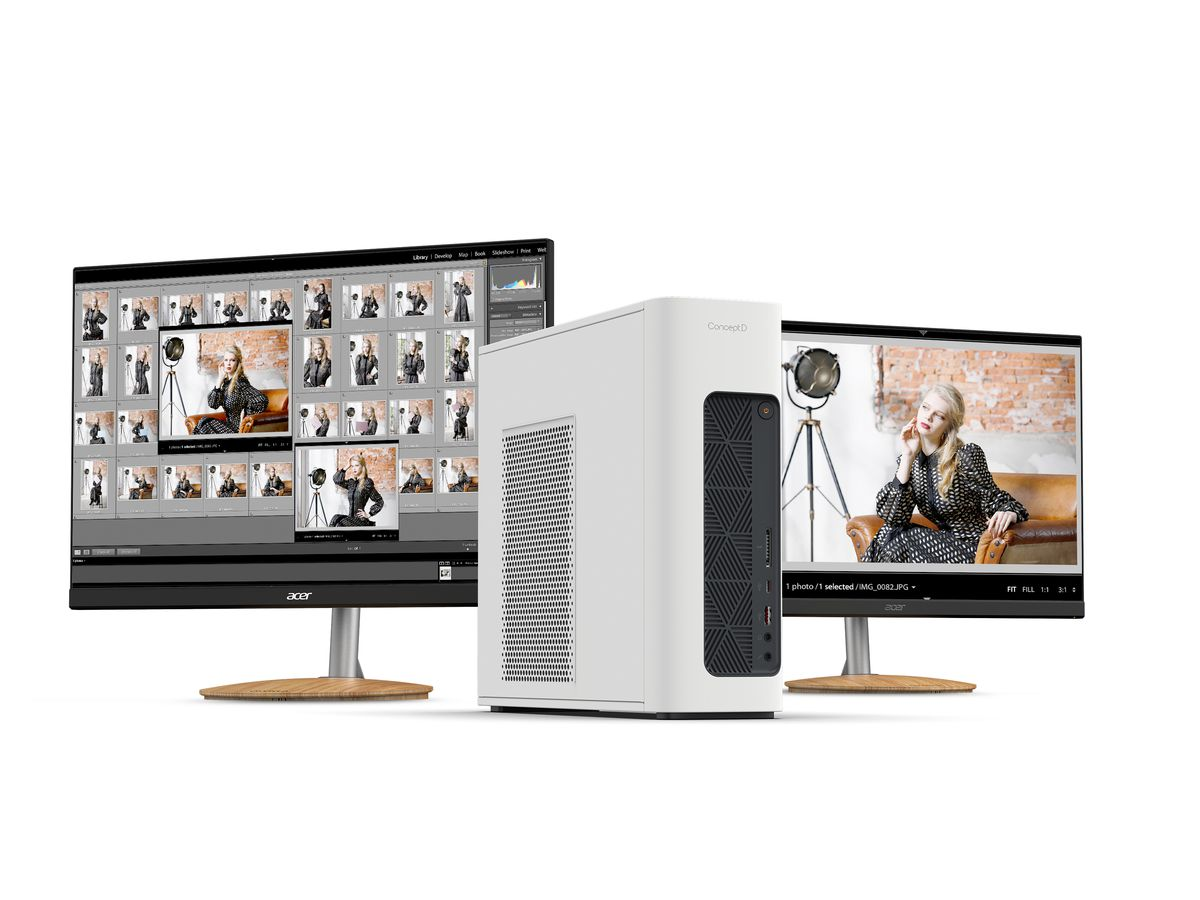 Acer ConceptD 100 desktop PC and ConceptD monitors on a white background