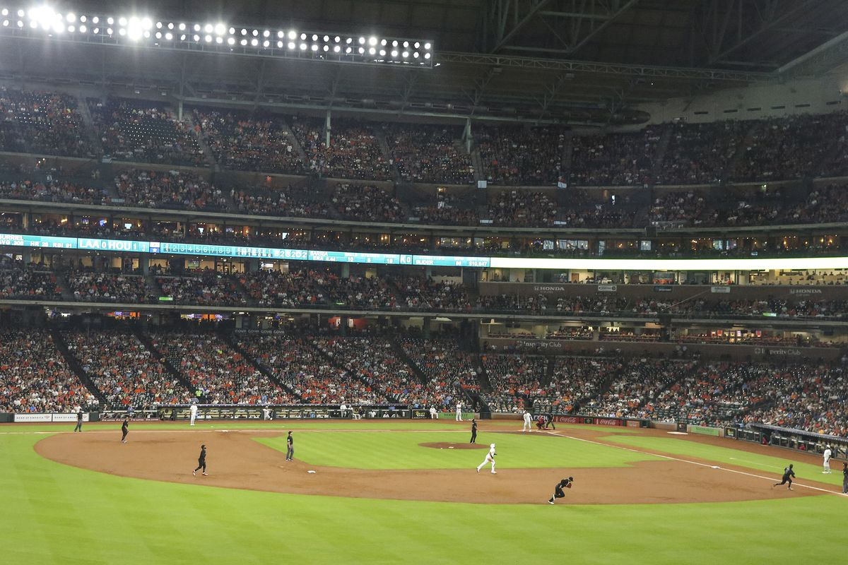 General play between the Houston Astros and Los Angeles Angels in the first inning during an MLB Players' Weekend game at Minute Maid Park.