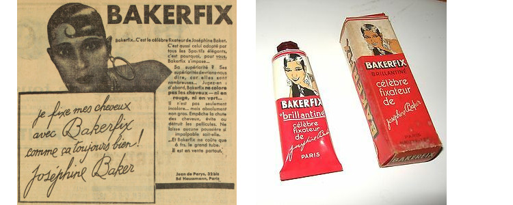 An ad for a hair produced promoted by Josephine Baker, Bakerfix, from the pages of L'Auto alongside product samples