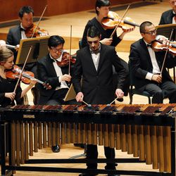 Michael Marsden performs on the marimba during the 55th annual Salute to Youth concert in Salt Lake City Tuesday, Sept. 30, 2014.