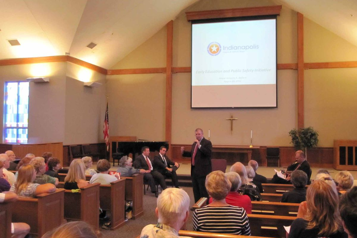 Mayor Greg Ballard begins discussion over his anti-crime initiative Wednesday night at a town hall meeting at Southport Presbyterian Church.