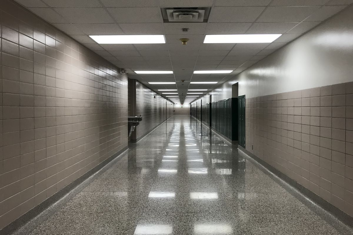Hallways at Arlington High School are empty after the last day of school in 2018.