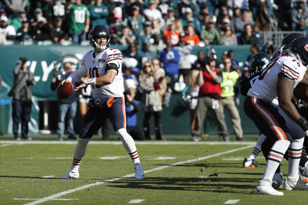 Bears quarterback Mitch Trubisky (10) is 29th in the NFL in passer rating (80.0). He was 16th last season (95.4).