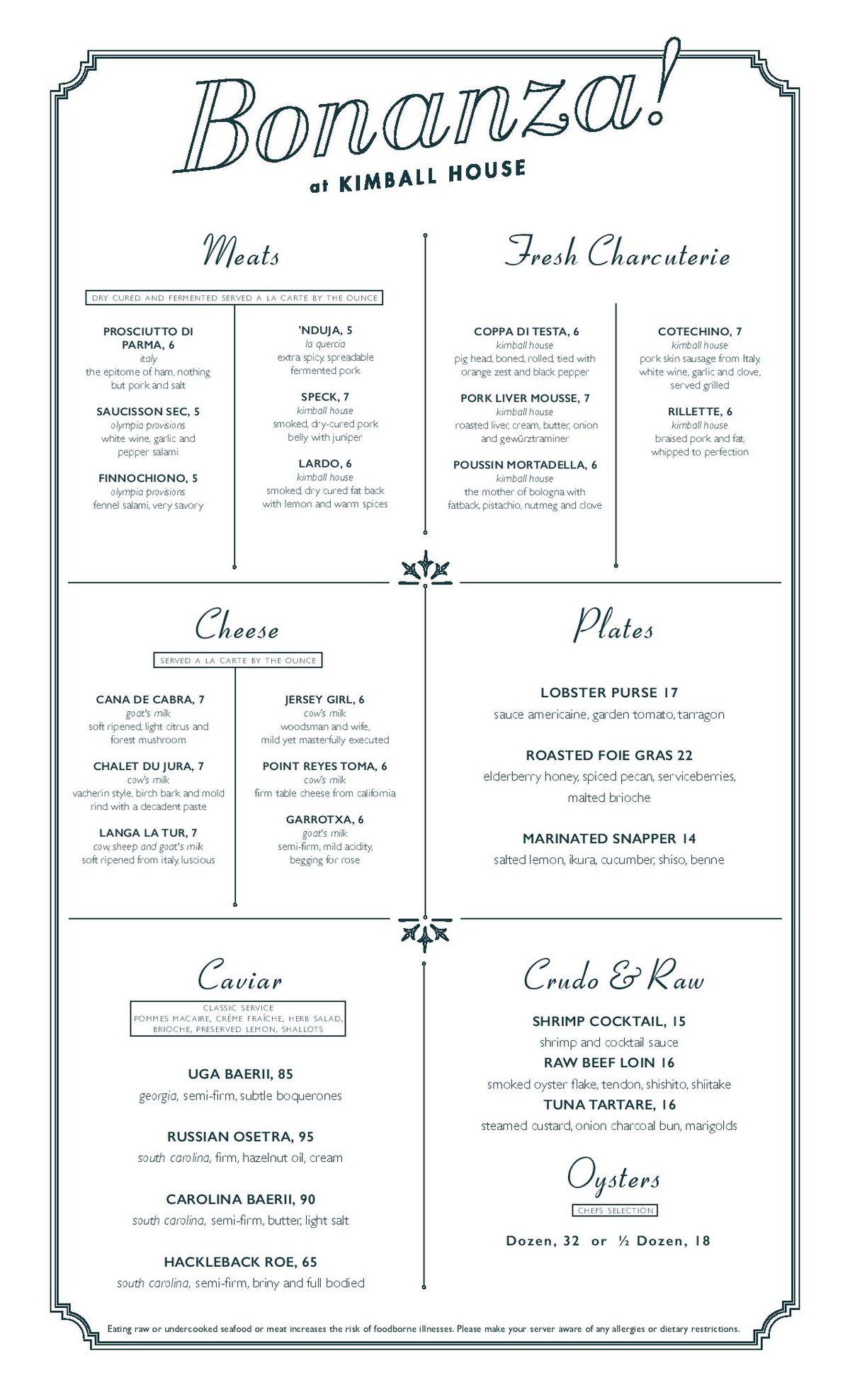Bonanza menu