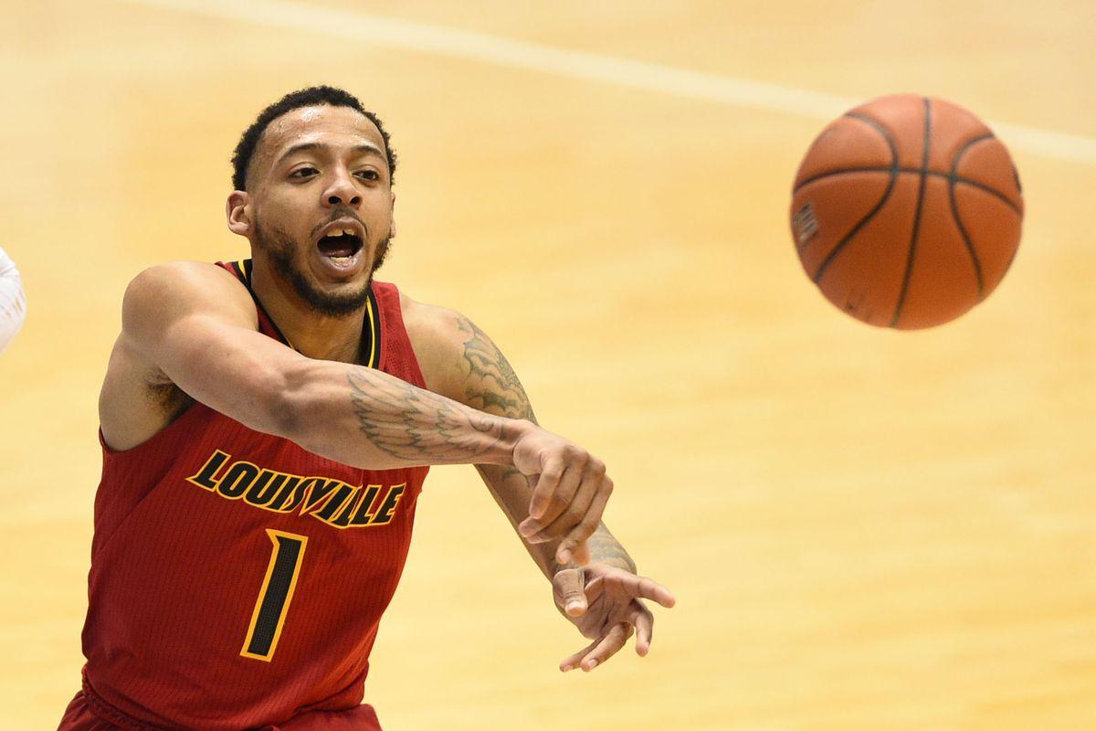 Louisville Cardinals guard Carlik Jones passes the ball in the second half at Dean E. Smith Center.