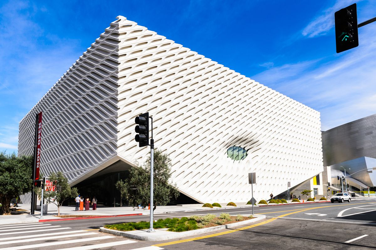 The exterior of the Broad in Los Angeles. The facade is white.