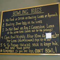 Bowling rules written out by owner Steve Soble at Southport Lanes in Lake View.