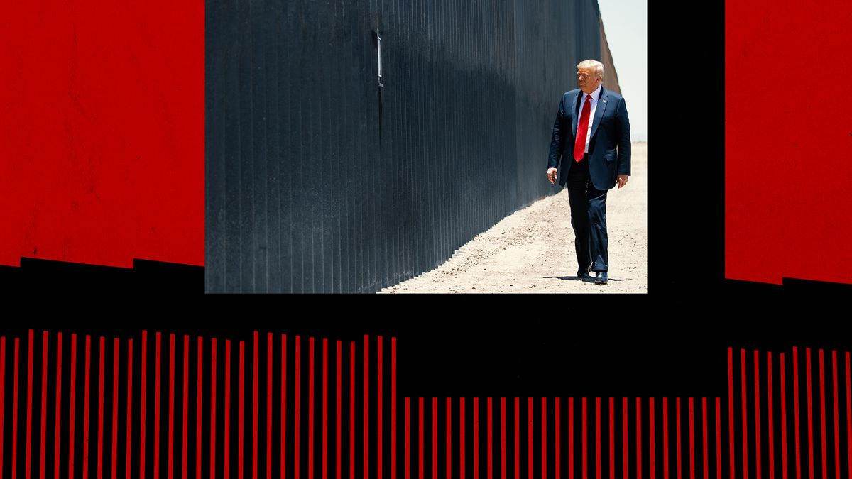 A collage feature Donald Trump walking in front of the border wall.