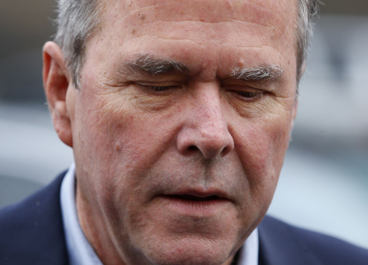 Former Florida Gov. Jeb Bush appears at a polling place Saturda in Greenville, S.C. AP photo
