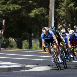 A small breakaway navigates a corner during Stage 3 of the Tour of Utah near Syracuse on Thursday, Aug. 15, 2019.