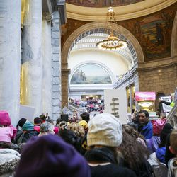 Abigail Wright, middle, has a son with hearing loss due to a common but relatively unknown virus called CMV. She attended the Women's March at the state Capitol in Salt Lake City on Monday, Jan. 23, 2017, to advocate for disability rights.