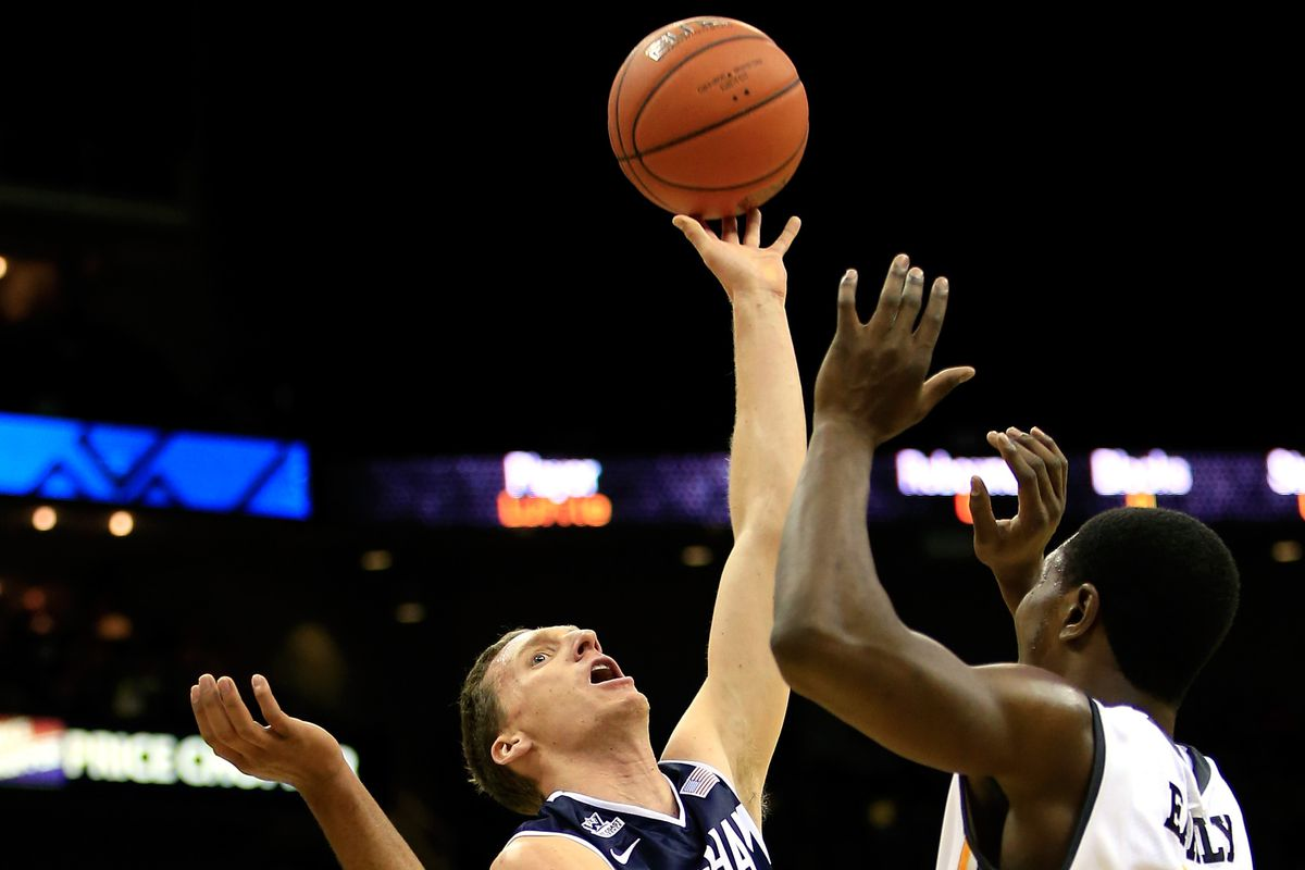 Skyler Halford shoots against Wichita State