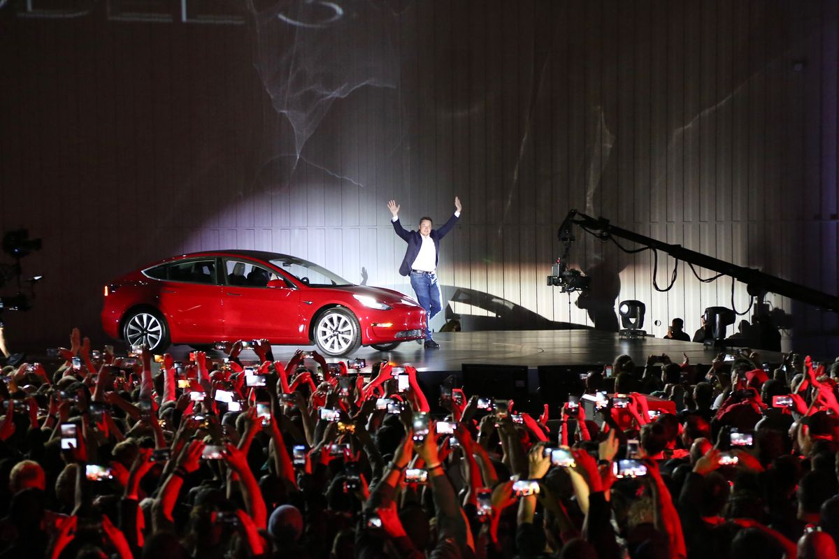 Elon Musk at the Tesla Model 3 launch