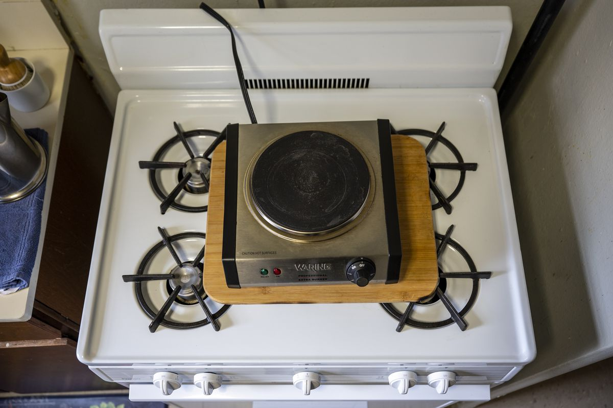The electric hot plate NYCHA provides to residents without gas at the Red Hook Houses.