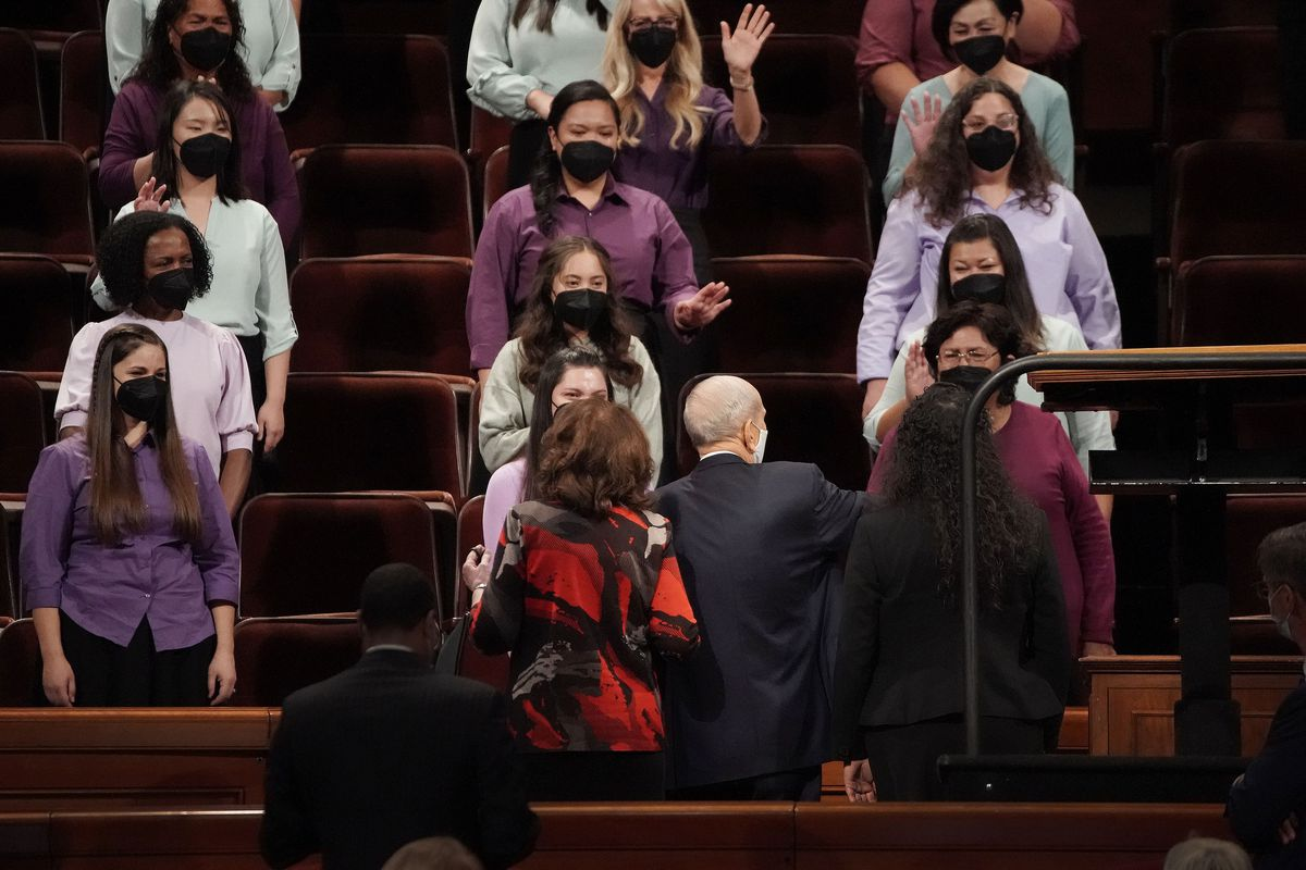 President Russell M. Nelson, of The Church of Jesus Christ of Latter-day Saints, and his wife Sister Wendy Nelson, greet the multicultural choir after the 191st Semiannual General Conference Saturday afternoon session.
