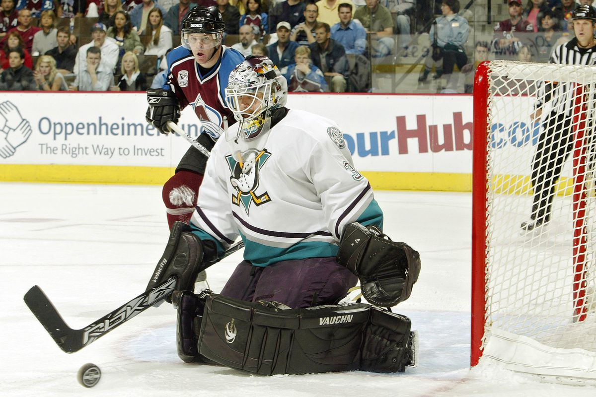 Bryzgalov makes a save against the Colorado Avalanche in the second round of the 2006 Stanley Cup Playoffs.