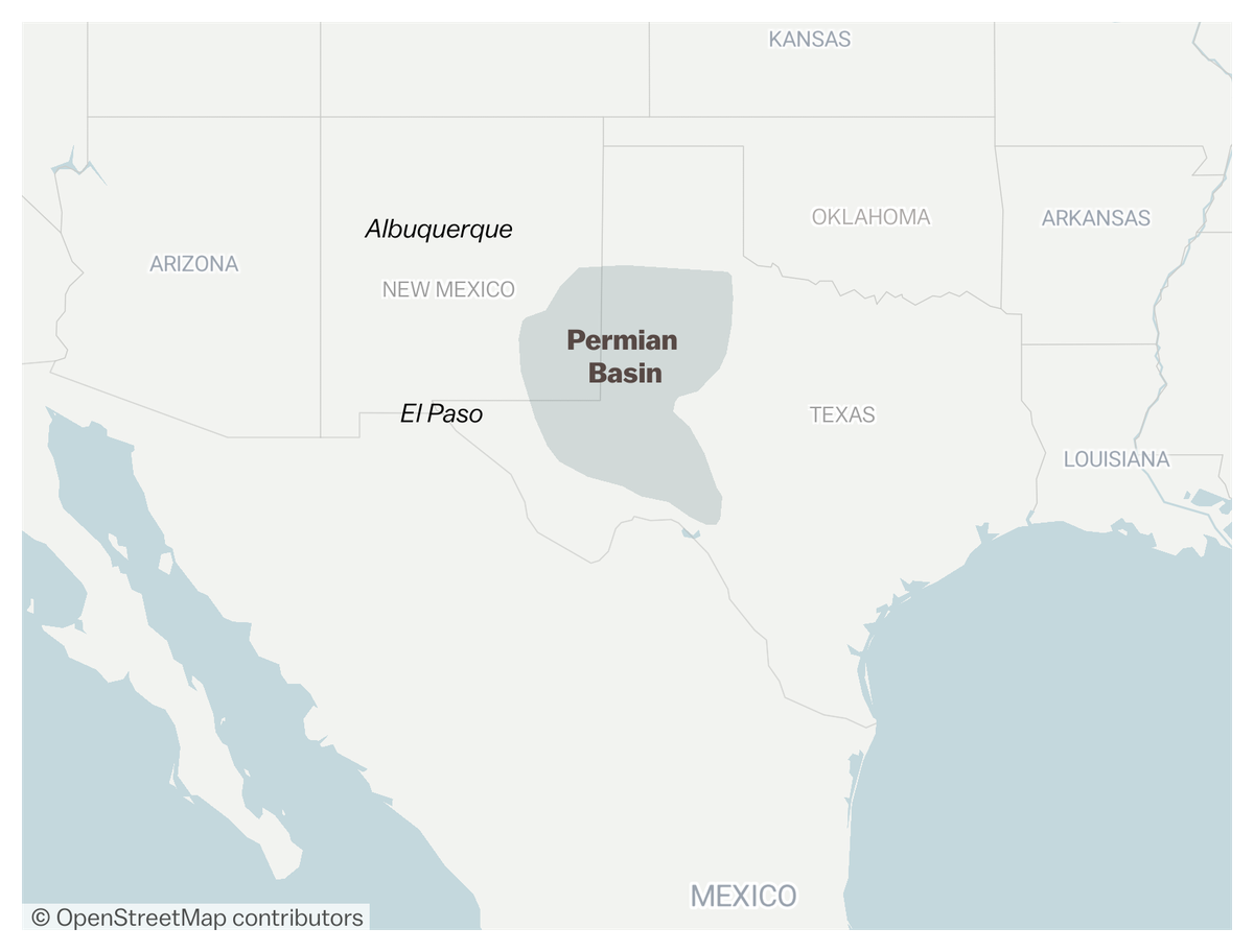 Map of Permian Basin, in west Texas and southeast New Mexico.