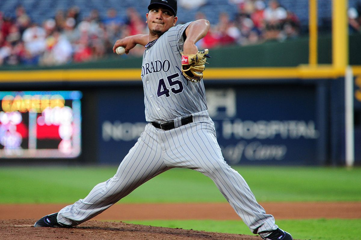 ATLANTA - JULY 5: Jhoulys Chacin #45 of the Colorado Rockies pitches against the Atlanta Braves at Turner Field on July 5, 2011 in Atlanta, Georgia. (Photo by Scott Cunningham/Getty Images)