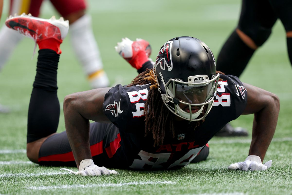 Cordarrelle Patterson #84 of the Atlanta Falcons reacts after a play in the third quarter against the Washington Football Team at Mercedes-Benz Stadium on October 03, 2021 in Atlanta, Georgia.