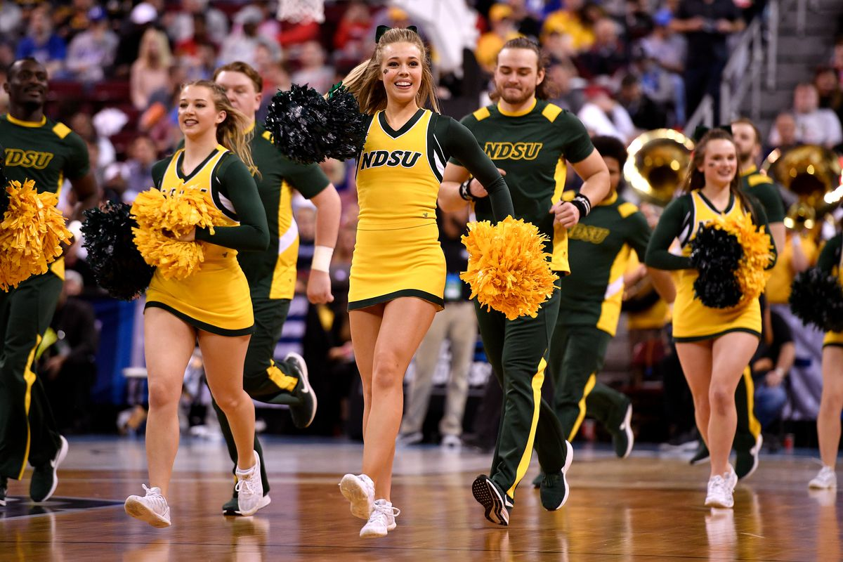 Cheerleaders of the North Dakota State Bison perform during the game against the Duke Blue Devils during the first round of the 2019 NCAA Men's Basketball Tournament at Colonial Life Arena on March 22, 2019 in Columbia, South Carolina.