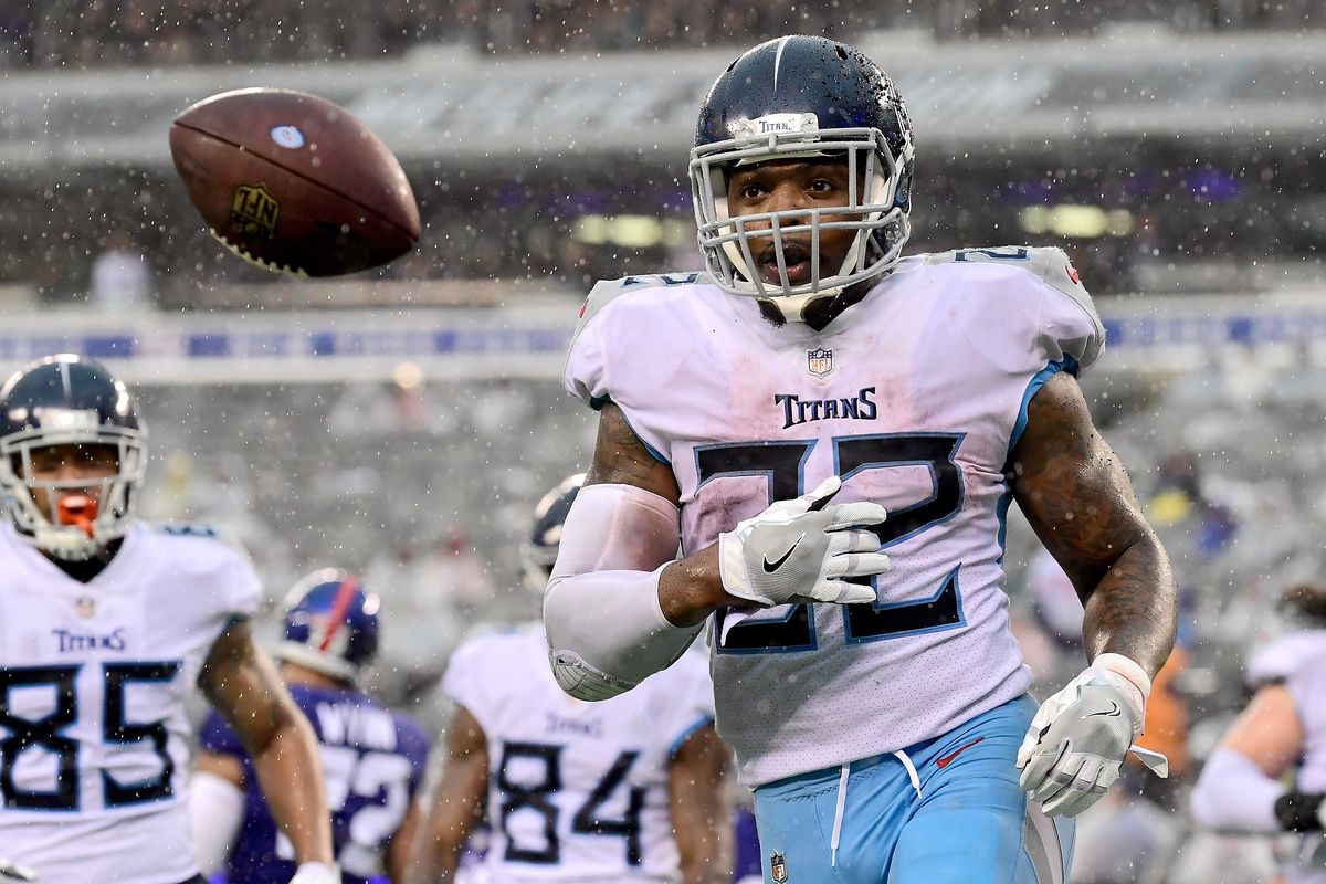 Derrick Henry #22 of the Tennessee Titans celebrates his second half touchdown against the New York Giants at MetLife Stadium on December 16, 2018 in East Rutherford, New Jersey.