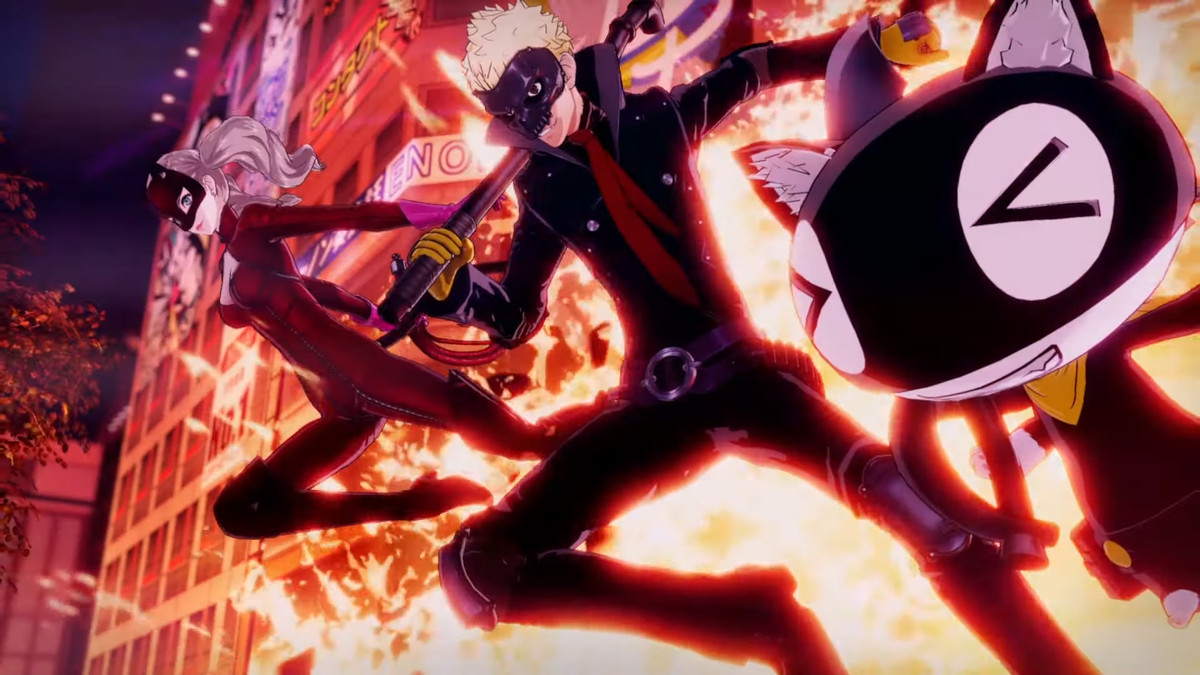 Ryuji, Ann, and Morgana blow through a building in Persona 5 Strikers