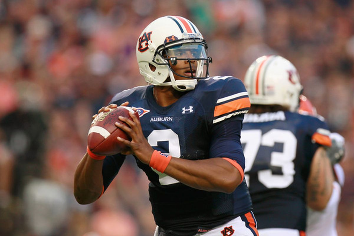 AUBURN AL - SEPTEMBER 18:  Quarterback Cameron Newton #2 of the Auburn Tigers looks to pass against the Clemson Tigers at Jordan-Hare Stadium on September 18 2010 in Auburn Alabama.  (Photo by Kevin C. Cox/Getty Images)