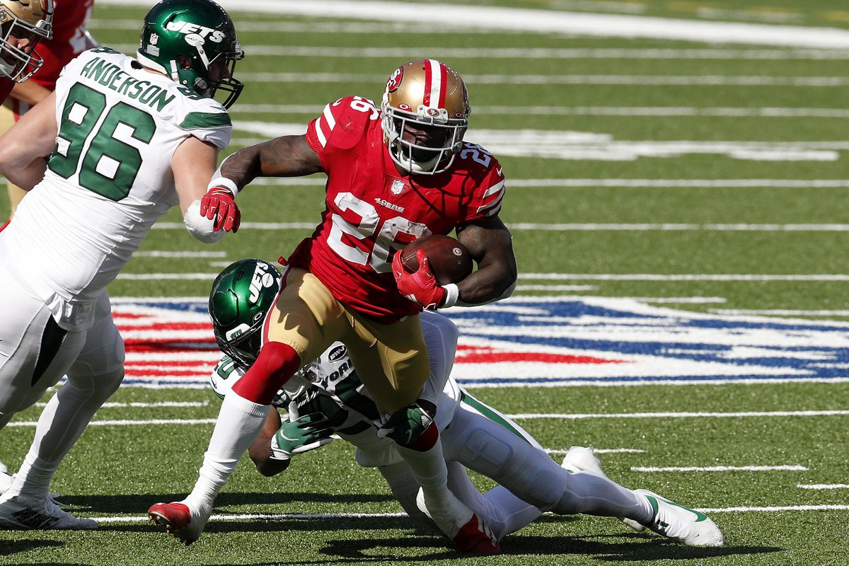 Tevin Coleman #26 of the San Francisco 49ers in action against the New York Jets at MetLife Stadium on September 20, 2020 in East Rutherford, New Jersey. The 49ers defeated the Jets 31-13.