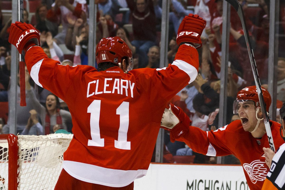It's true.  The only way Cleary can score a goal these days is when Brendan Smith sets him up.  (Mandatory Credit: Rick Osentoski-US PRESSWIRE)