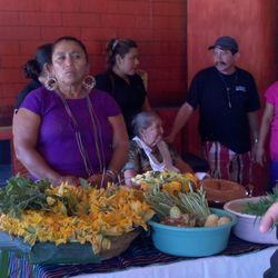Local female cooks demo traditional foods at Hotel Villa Mexicana.