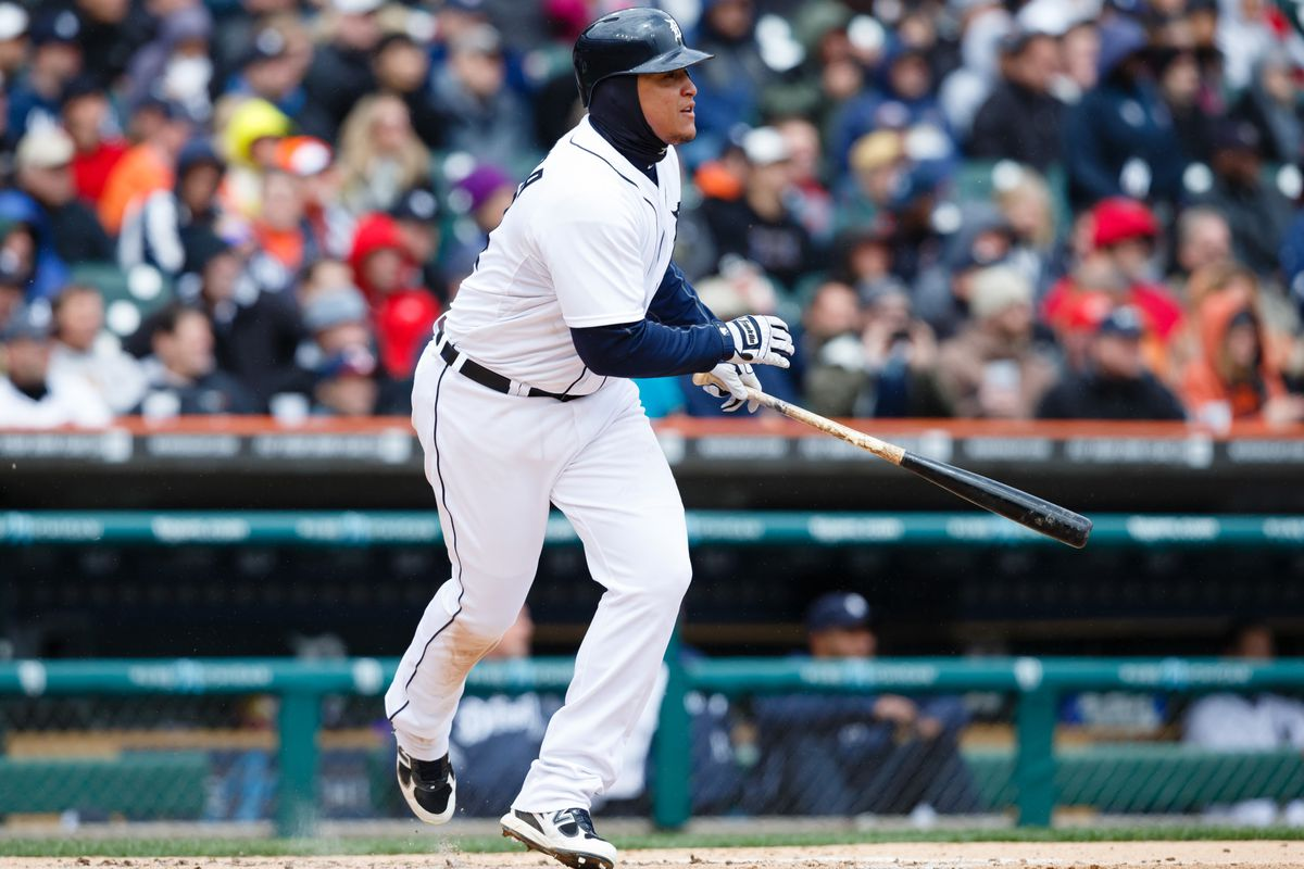 Miguel Cabrera dressed for the cold in April, 2013