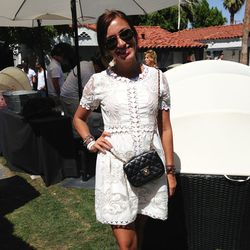 No big deal, just wearing a stunning Valentino dress and Chanel crossbody bag by the pool.