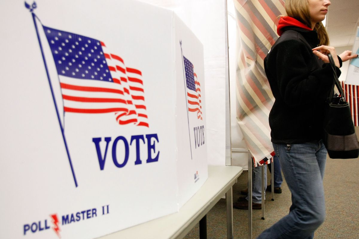A young woman casts a vote in the New Hampshire primary. A new study has found young Republicans are significantly more moderate than their elders, which could have big implications for American politics.