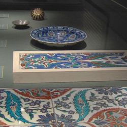 Art pieces on display for the Islamic exhibit at BYU's Museum of Art.