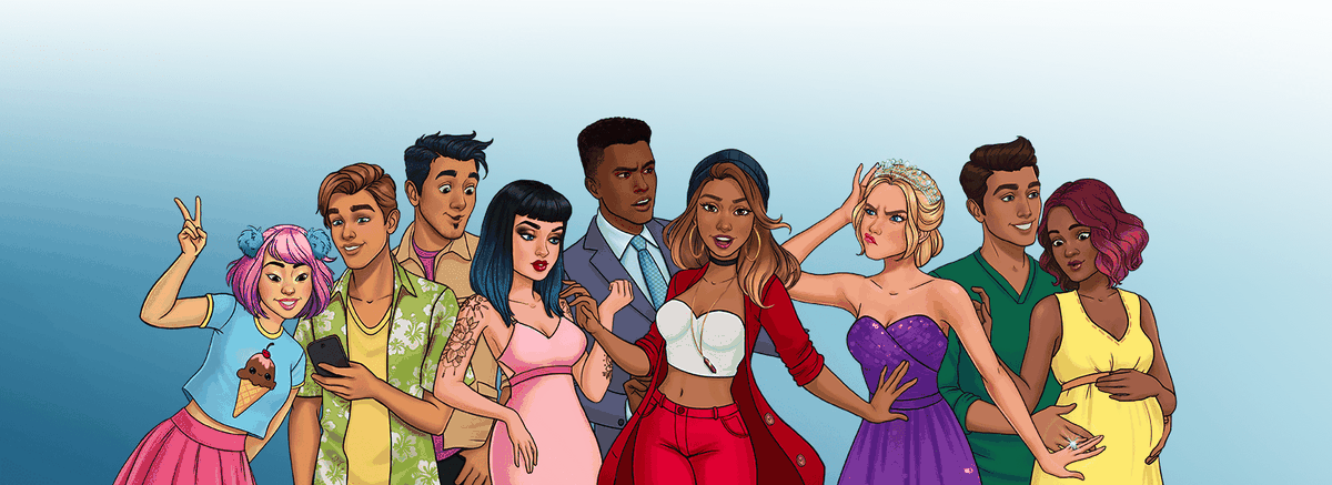 artwork of nine characters from Episode