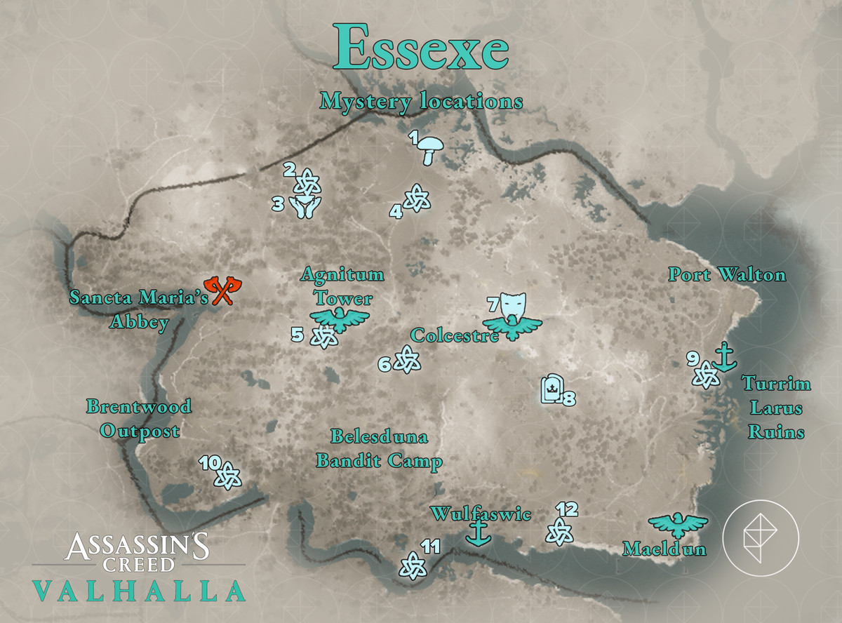 Essexe Mysteries locations map