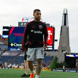 FOXBOROUGH, MA - MAY 25: D.C. United midfielder Luciano Acosta #10 leaves the field prior to the game against the New England Revolution at Gillette Stadium on May 25, 2019 in Foxborough, Massachusetts. (Photo by J. Alexander Dolan - The Bent Musket)