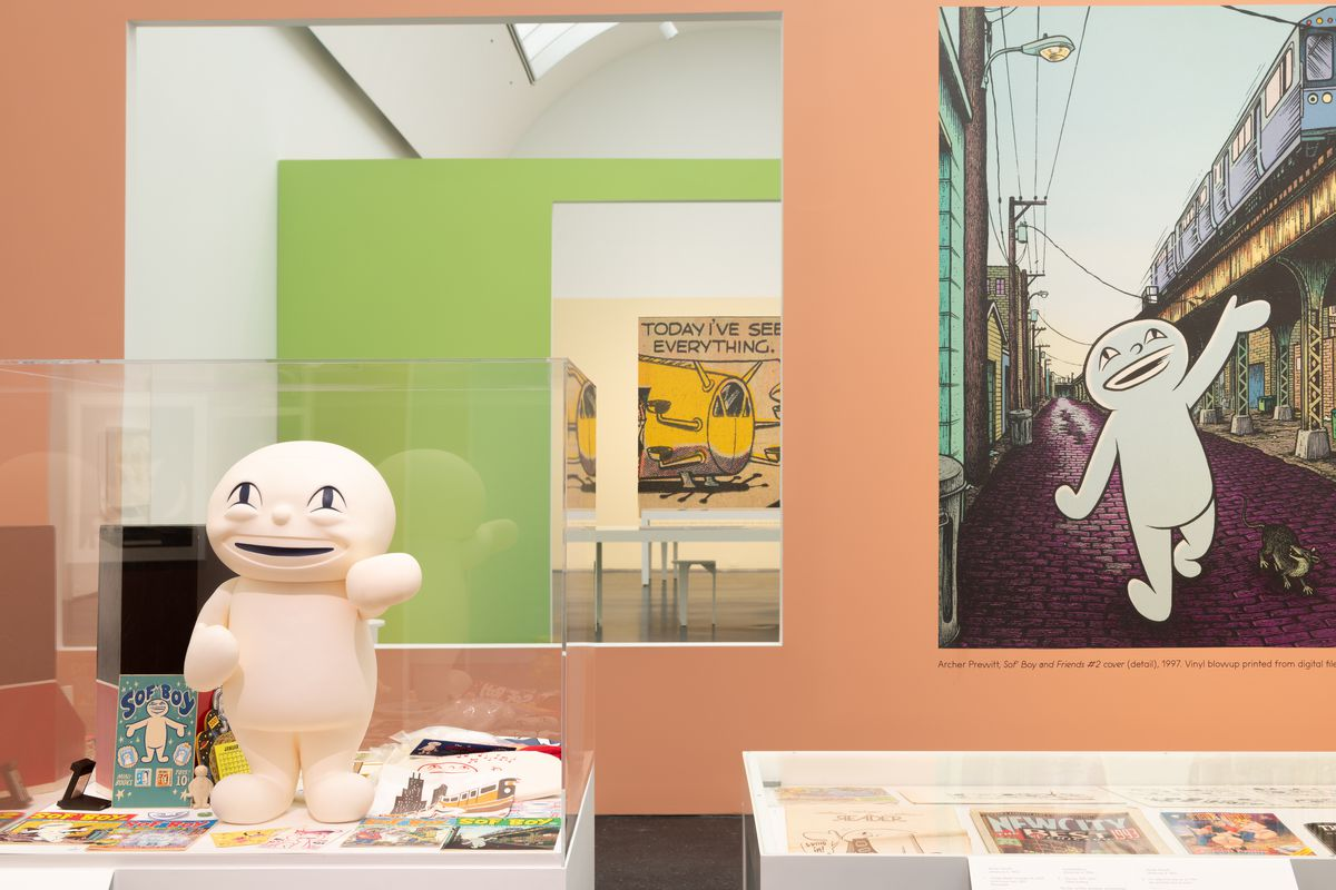 Installation view, Chicago Comics: 1960s to Now, MCA Chicago, Jun 19– Oct 3, 2021. Photo: Nathan Keay, © MCA Chicago.