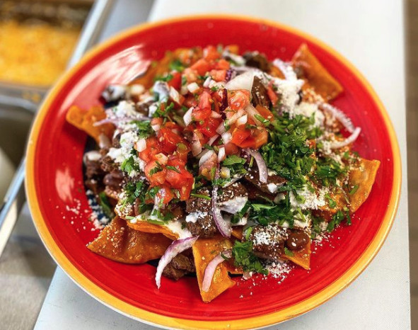 Chilaquiles rojas from Los Chilaquiles Mexican Grill in Torrance, California