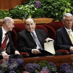 Presidents Thomas S. Monson, Henry Eyring and Dieter Uchtdorf are seated prior to the 182nd Annual General Conference for The Church of Jesus Christ of Latter-day Saints in Salt Lake City  Saturday, March 31, 2012.