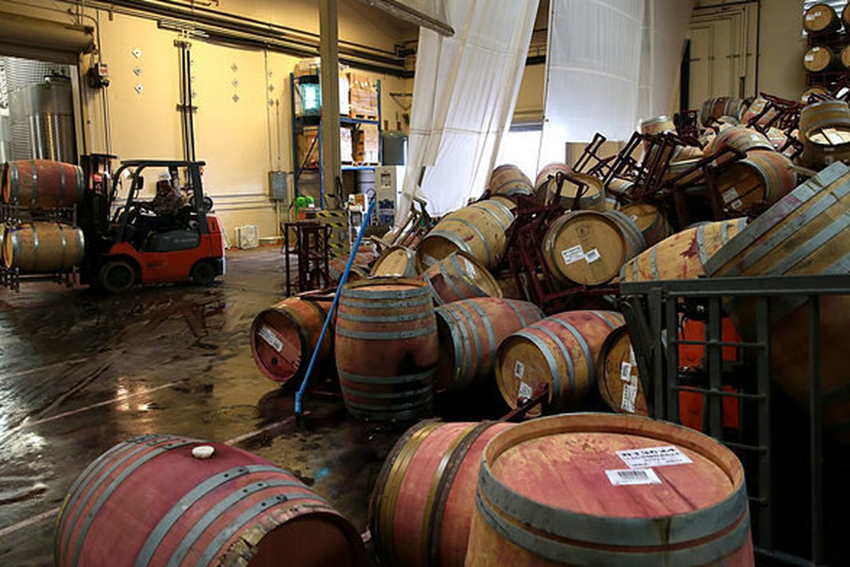 Kieu Hoang Winery, the morning after the August 24 earthquake in Napa Valley.