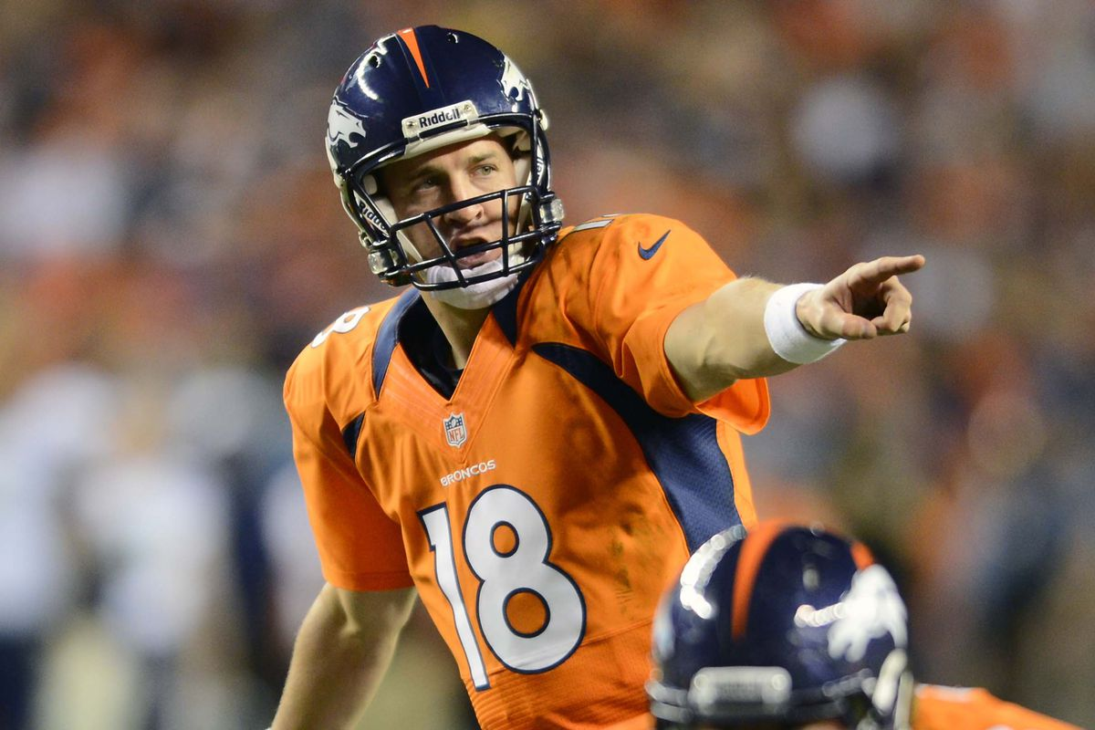 August 18 2012; Denver, CO, USA;Denver Broncos quarterback Peyton Manning (18) in the second quarter of a preseason game against the Seattle Seahawks at Sports Authority Field. Mandatory Credit: Ron Chenoy-US PRESSWIRE